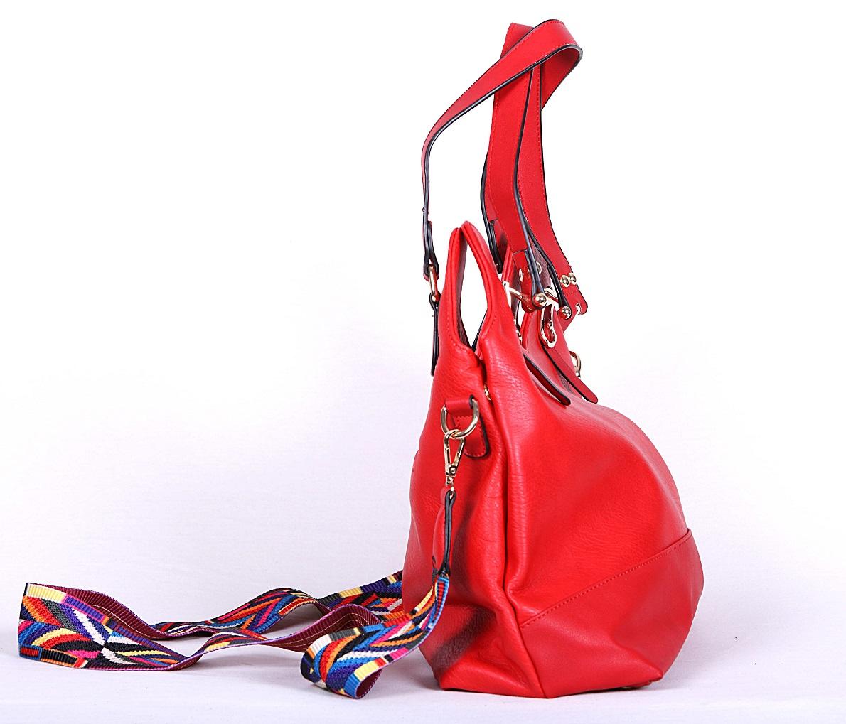 geanta casual rosu bareta multicolora 4