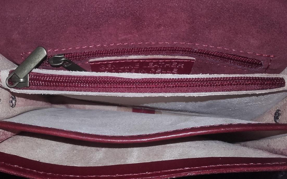 geanta clutch crossbody piele naturala rosu interior