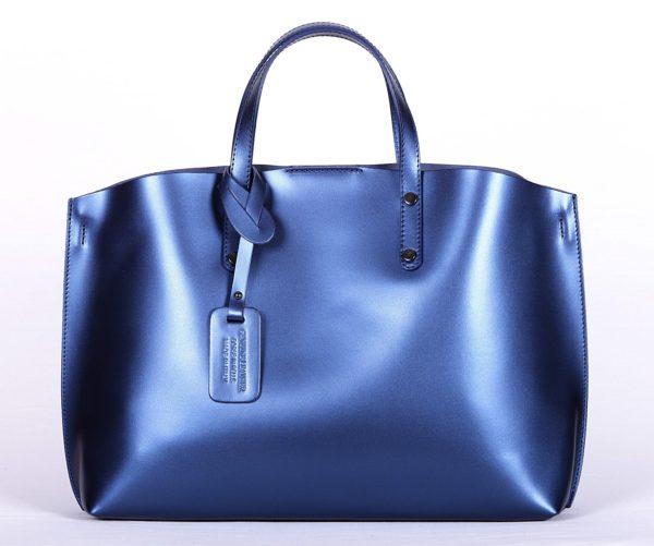 geanta piele naturala albastru 1