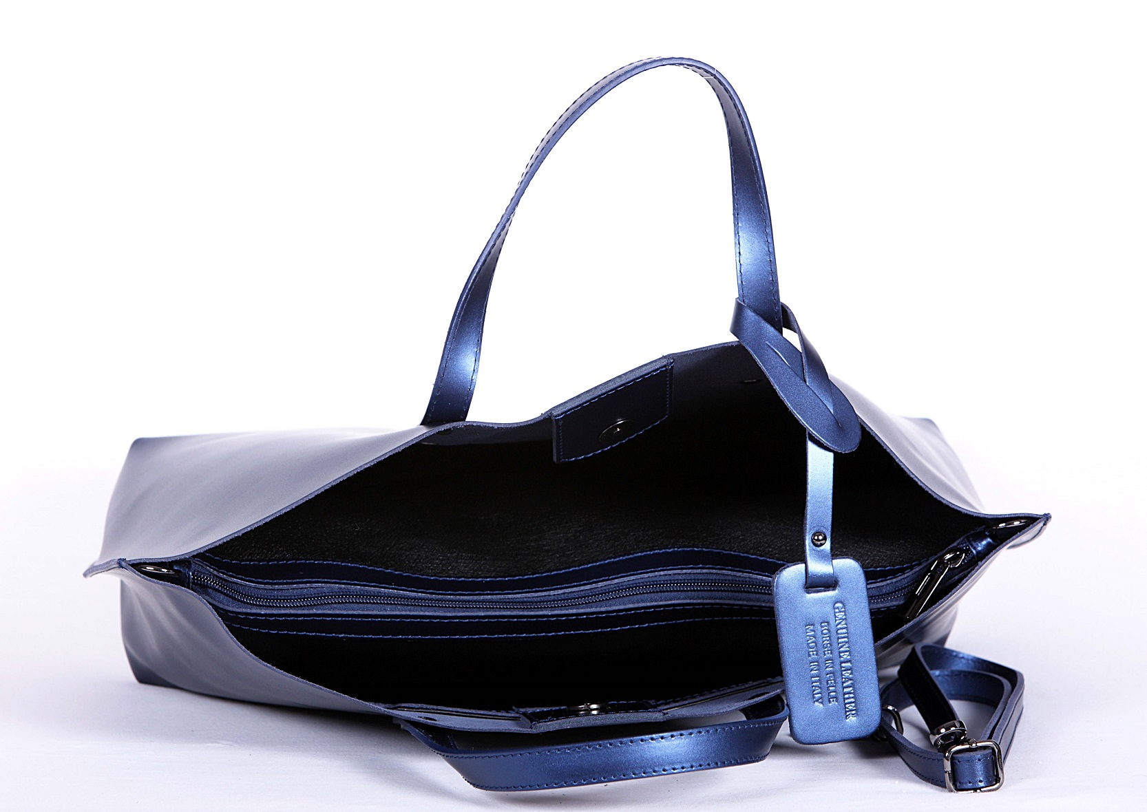 geanta piele naturala albastru interior 1